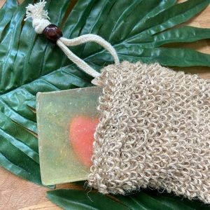 Sisal exfoliating soap pouch